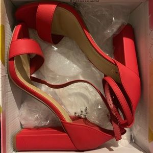 Red chunky heel sandals